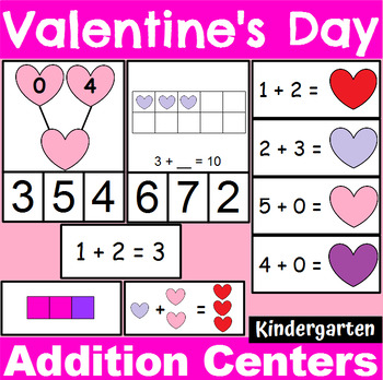Valentine's Day Themed Addition Centers and Activities for Kindergarten