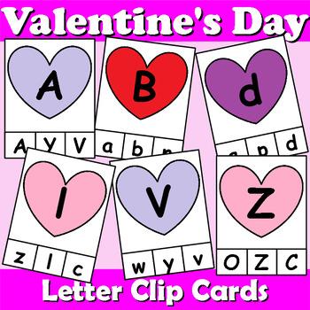 Valentine's Day Themed Alphabet Clip Cards