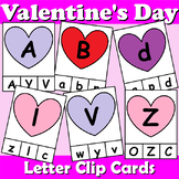 Valentine's Day Themed Alphabet Clip Cards