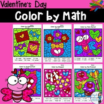 Valentine's Day Themed Color by Code Math Activities