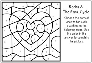 Valentine's Day Themed Science Color-by-Number: Rocks & Rock Cycle