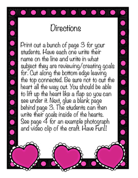 Valentine's Day Themed Goal Worksheets