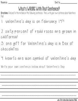 """Valentine's Day """"Themed"""" Grammar Activities"""