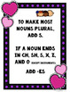Plural Nouns, Task Cards, Valentine's Day Themed, Games, Posters