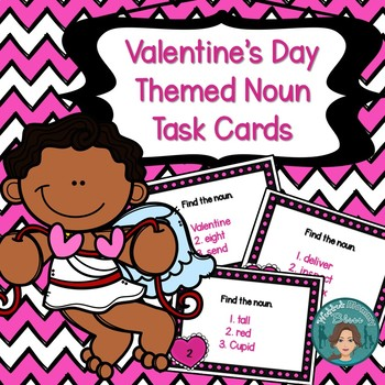 Valentine's Day Themed Noun Task Card Activity