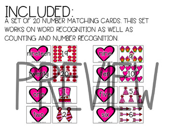 Valentine's Day Themed Number Matching Game Numbers 1-20