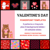 Holiday PowerPoint:  Valentine's Day | Morning Work or Daily Agenda Templates