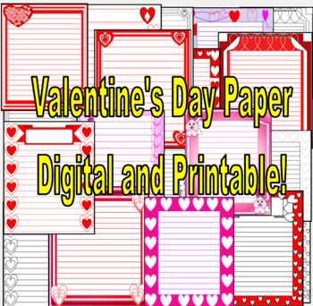 Valentine's Day Themed Printable and Digital Writing Paper (Grades 2 and Up)