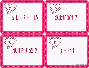 Valentine's Day Themed Solving Equations Matching Cards