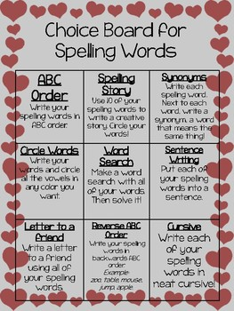 Valentine's Day Themed Spelling Choice Board