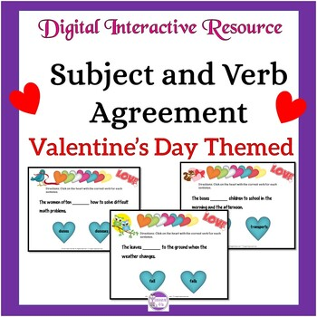 Subject and Verb Agreement Valentine's Day Themed Digital Task Cards:Google