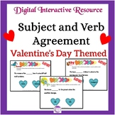 Subject and Verb Agreement Valentine's Day Themed Digital