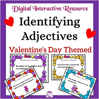 Adjectives Valentine's Day Themed Digital Task Cards: Google Drive