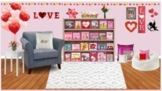 Valentine's Day Themed Virtual Library Classroom-Books are