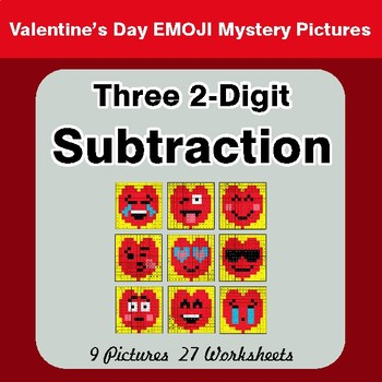 Valentine's Day: Three 2-Digit Subtraction - Color-By-Number Math Mystery Pictures