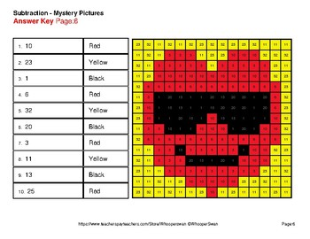 Three 2-Digit Subtraction - Color-By-Number Valentine's Math Mystery Pictures
