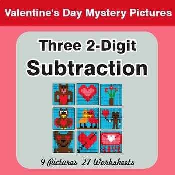 Valentine's Day: Three 2-Digit Subtraction - Color-By-Number Mystery Pictures