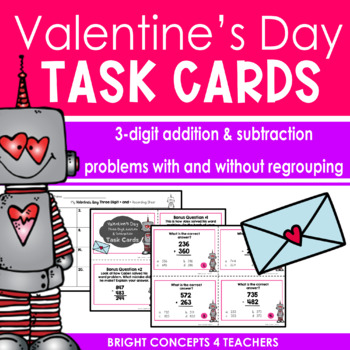 Valentine's Day Three Digit Addition & Subtraction Task Cards