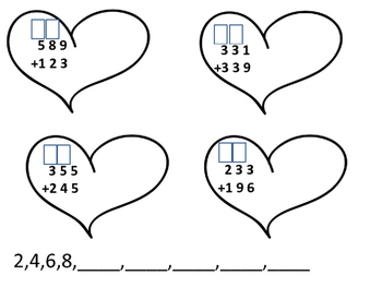Valentine's Day Three Digit Addition with Regrouping