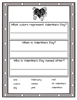 Valentine's Day Tiered Sentence Writing Activity