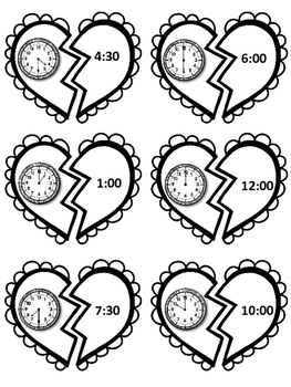 Valentine's Day Time Matching Game- Hour & Half Hour