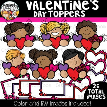 Valentine's Day Toppers Clipart {Valentine's Clipart}