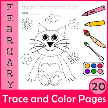 Valentine`s Day Trace and Color Pages