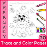 Valentine`s Day Trace and Color Pages {Fine Motor Skills + Pre-writing}