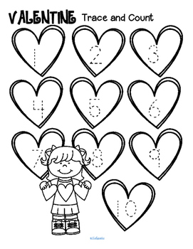 Valentine's Day Trace and Count Printables FREE