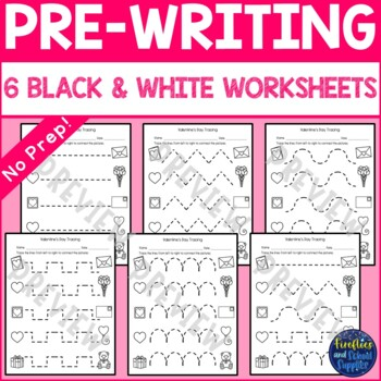Valentine's Day Tracing Worksheets and Center Cards
