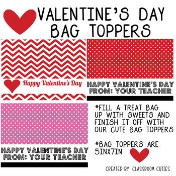 classroom treat Valentines Day favor PRINTED treat topper valentine treat valentine treat topper favor class treat valentine favor