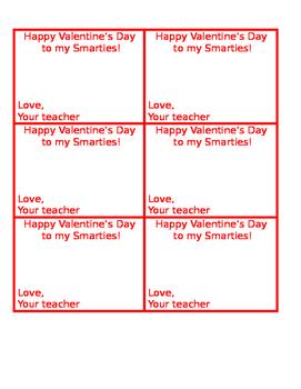 Valentine's Day Treat Tag! Editable
