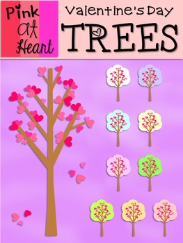 Valentine's Day Trees Clip Art