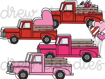 Valentine's Day Trucks- Color and Black Line COMBO