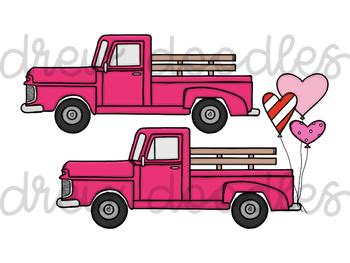 Valentine's Day Trucks Digital Clip Art Set