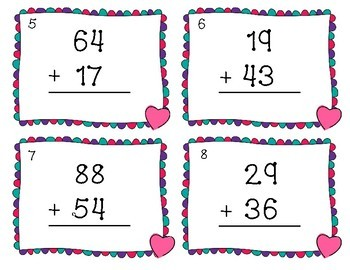 Valentine's Day Two Digit Addition Scoot