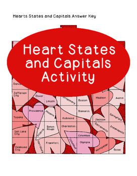 Valentine's Day US States Capitals Activity Heart Matching United States