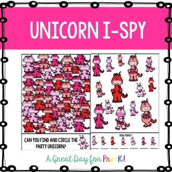 Unicorn I-Spy for Preschool, Prek, and Kindergarten