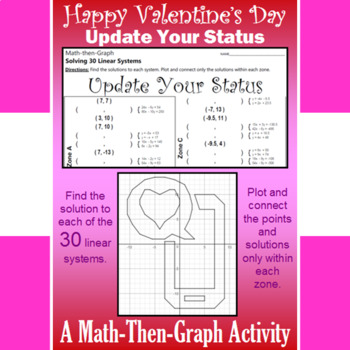 Valentine's Day - Update Your Status - Math-Then-Graph - Solve 30 Systems
