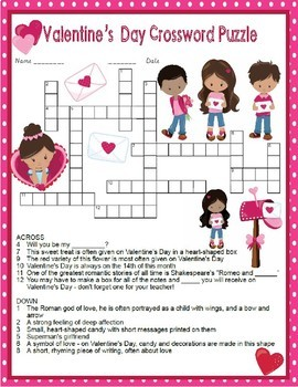 Valentine's Day Valentines Crossword Puzzle and Word Search Find Activities