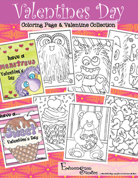 Valentine\'s Day Valentines Cards Coloring Book Sets Detailed Artist ...