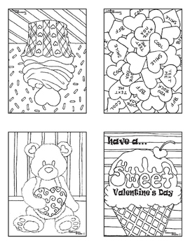 Valentine's Day Valentines Cards Coloring Book Sets Detailed Artist Drawings