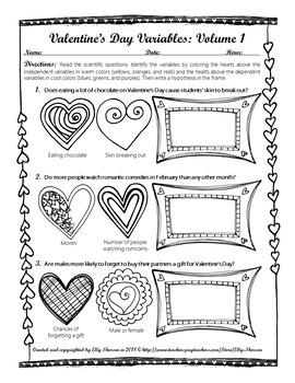 Valentine's Day Variables Coloring Worksheet Set