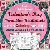 Valentine's Day Variables Coloring Worksheet Set