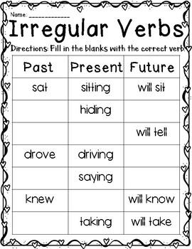 Valentine's Day Verbs - Irregular & Regular (Past, Present, Future)