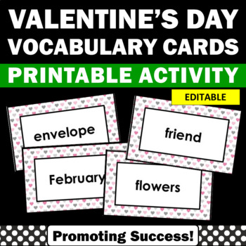 Valentines Day Vocabulary Cards Literacy Center Word Wall Editable