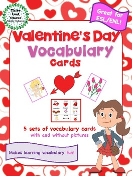 Valentines Day Vocabulary Cards  Great for ESLENL  TpT