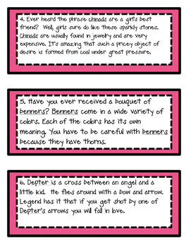 Valentine's Day Vocabulary Center- Context Clues Task Cards