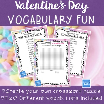 Create your own crossword teaching resources teachers pay teachers valentines day vocabulary crossword activity valentines day vocabulary crossword activity ccuart Image collections