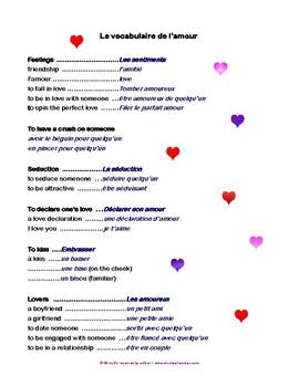 Valentine's Day Vocabulary French-Anglais